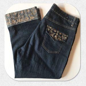 Cos Embellished Embroidered Crop Capri Jeans